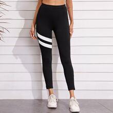Leggings mit Streifen Detail und elastischer Taille