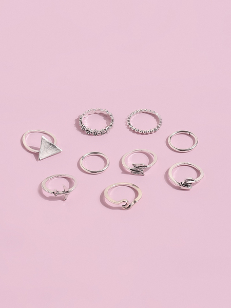 Yoins Silver Geometric Shape 9-piece Ring Set