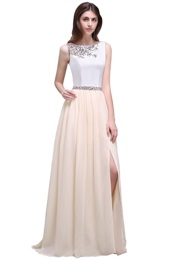 ALAYA | Vaina joya blanca larga noche vestidos con cuentas