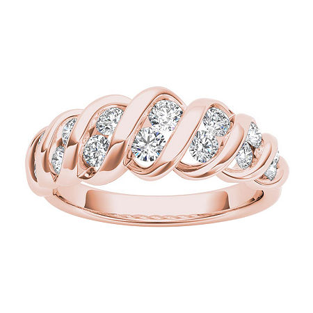 3.5MM 3/4 CT. T.W. Genuine White Diamond 14K Gold Wedding Band, 8 1/2 , Multiple Colors