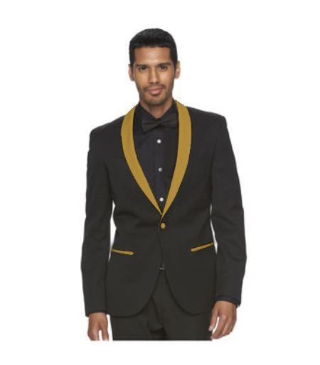 Mens One Button Black Suit Gold Shawl Lapel