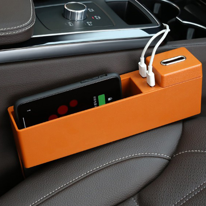 Wireless Charging Car Seat Filler Gap Space Storage Box