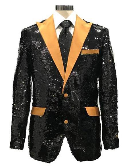AFD547 Mens Reversible Sequin Black & Gold Blazer with gold Satin .