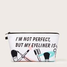 Pinsel & Slogan Grafik Make-up Tasche