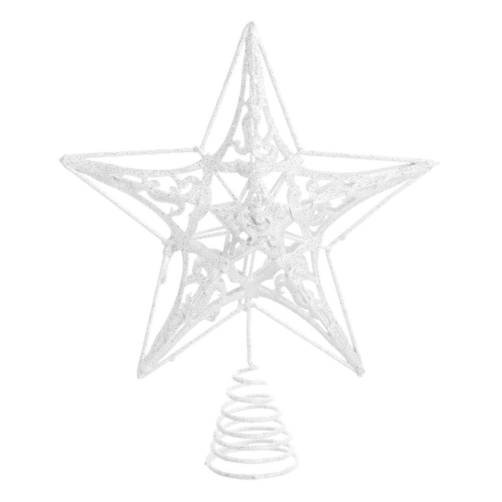 Weihnachtsbaumspitze Stern aus Metall, weiss