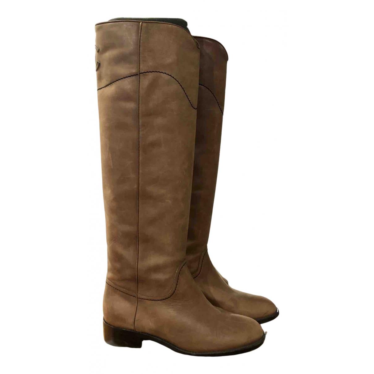 Chanel - Bottes   pour femme en cuir - marron
