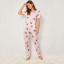 Pajama Set mit Karikatur Muster und Streifen
