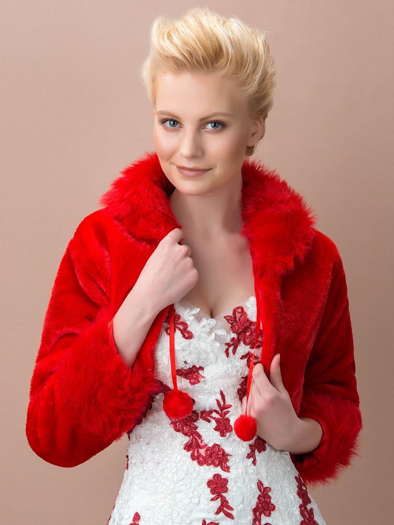 Long Sleeve Red Fax Fur Wedding Jacket