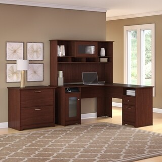 Copper Grove Daintree L-shaped Hutch Desk with Lateral File Cabinet (Harvest Cherry)