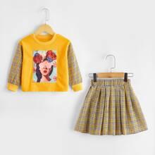 Toddler Girls Figure And Plaid Sweatshirt & Skirt