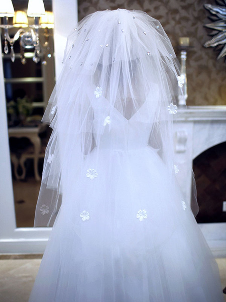 Milanoo Wedding Veil White 3D Flowers Applique Beaded Cut Edge Bridal Veil