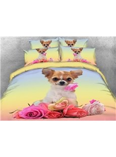 Chihuahua with Flowers Printed 3D 4-Piece Bedding Sets/Duvet Covers