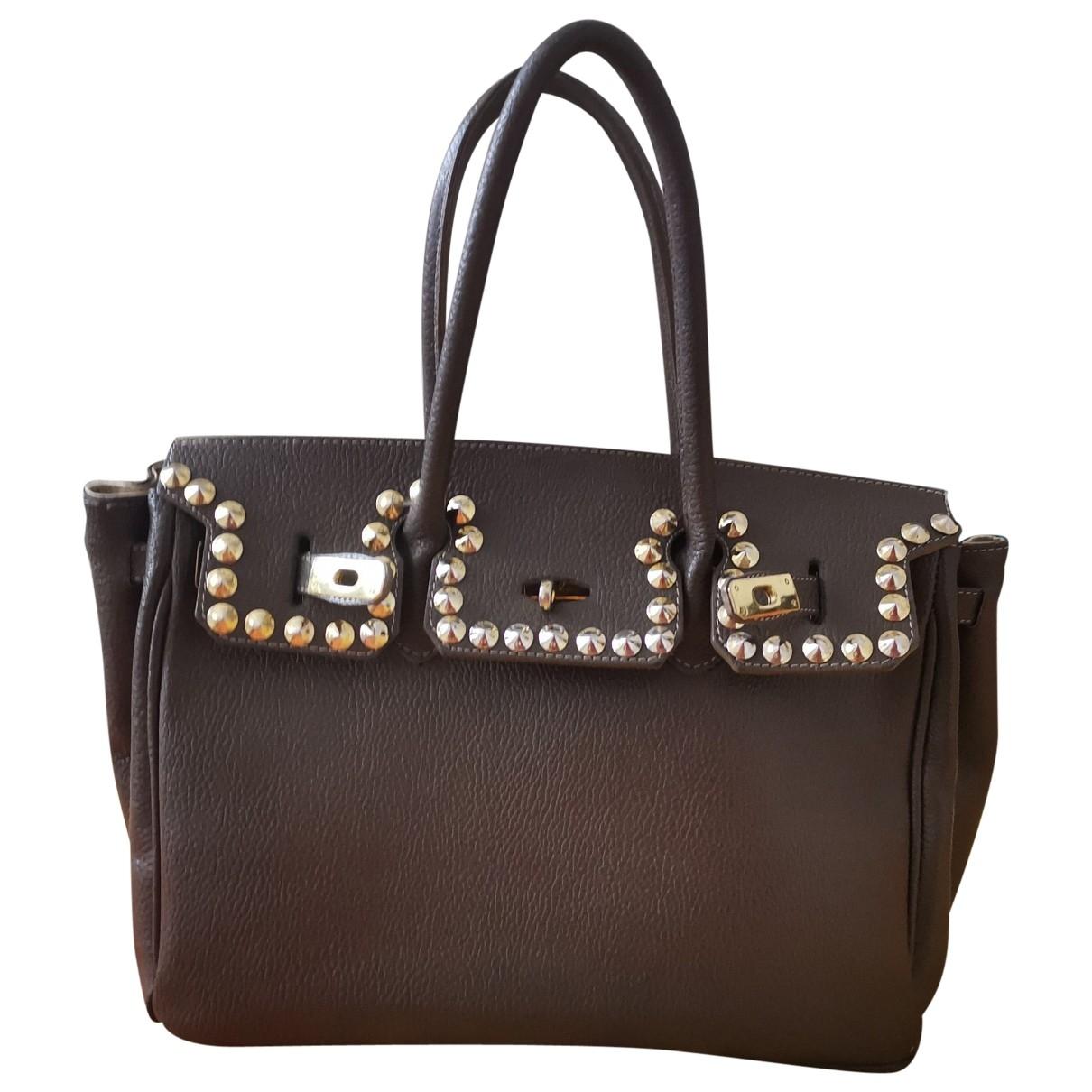 A Detacher \N Handtasche in  Braun Leder