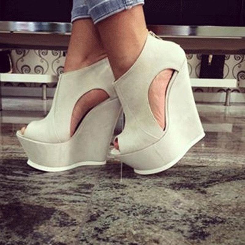 Ericdress PU Platform Peep Toe Wedge Sandals