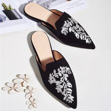 Leaf Embroidered Flat Mules