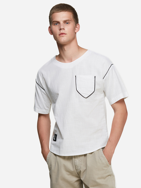 Yoins White Pocket Design Round Neck Short Sleeve Men's Casual T-Shirt