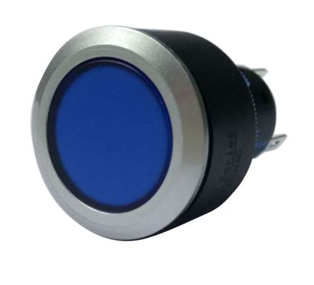 RS PRO Single Pole Double Throw (SPDT) Momentary Blue LED Push Button Switch, IP65, 22.2 (Dia.)mm, Panel Mount, 250V ac (20)