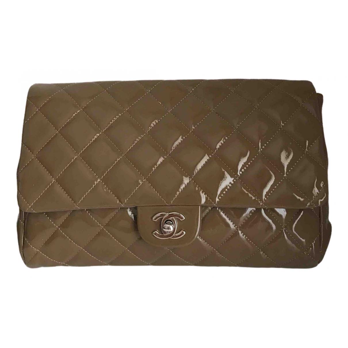 Chanel - Sac a main Timeless/Classique pour femme en cuir verni - marron