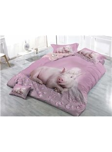 Pink Princess Pig Wear-resistant Breathable High Quality 60s Cotton 4-Piece 3D Bedding Sets
