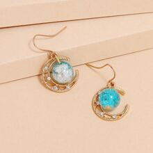 Moon & Crystal Ball Drop Earrings