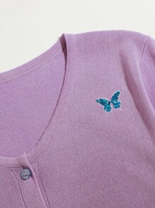 Butterfly Embroidery Lettuce Trim Cardigan