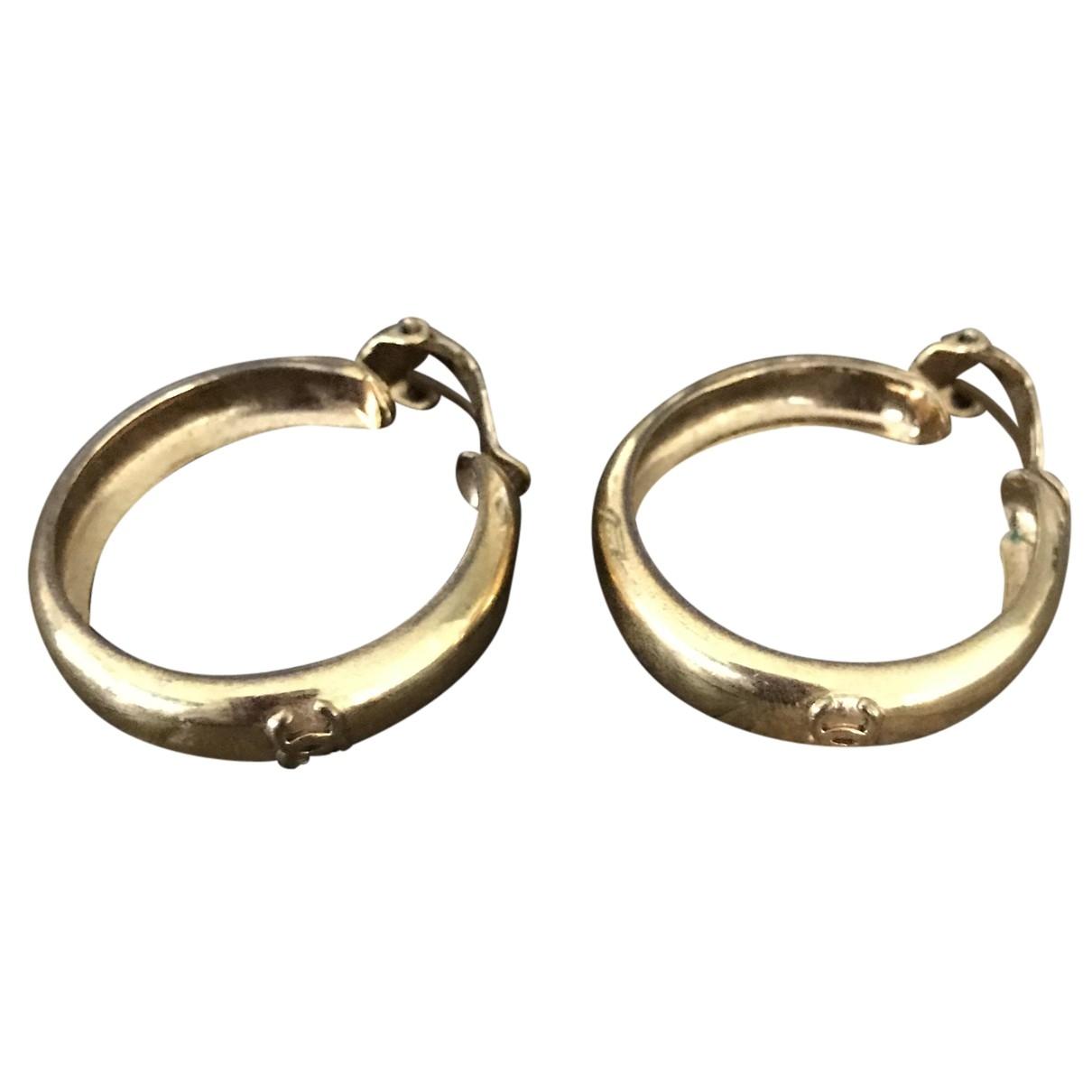 Chanel - Boucles doreilles CC pour femme en or et acier - dore