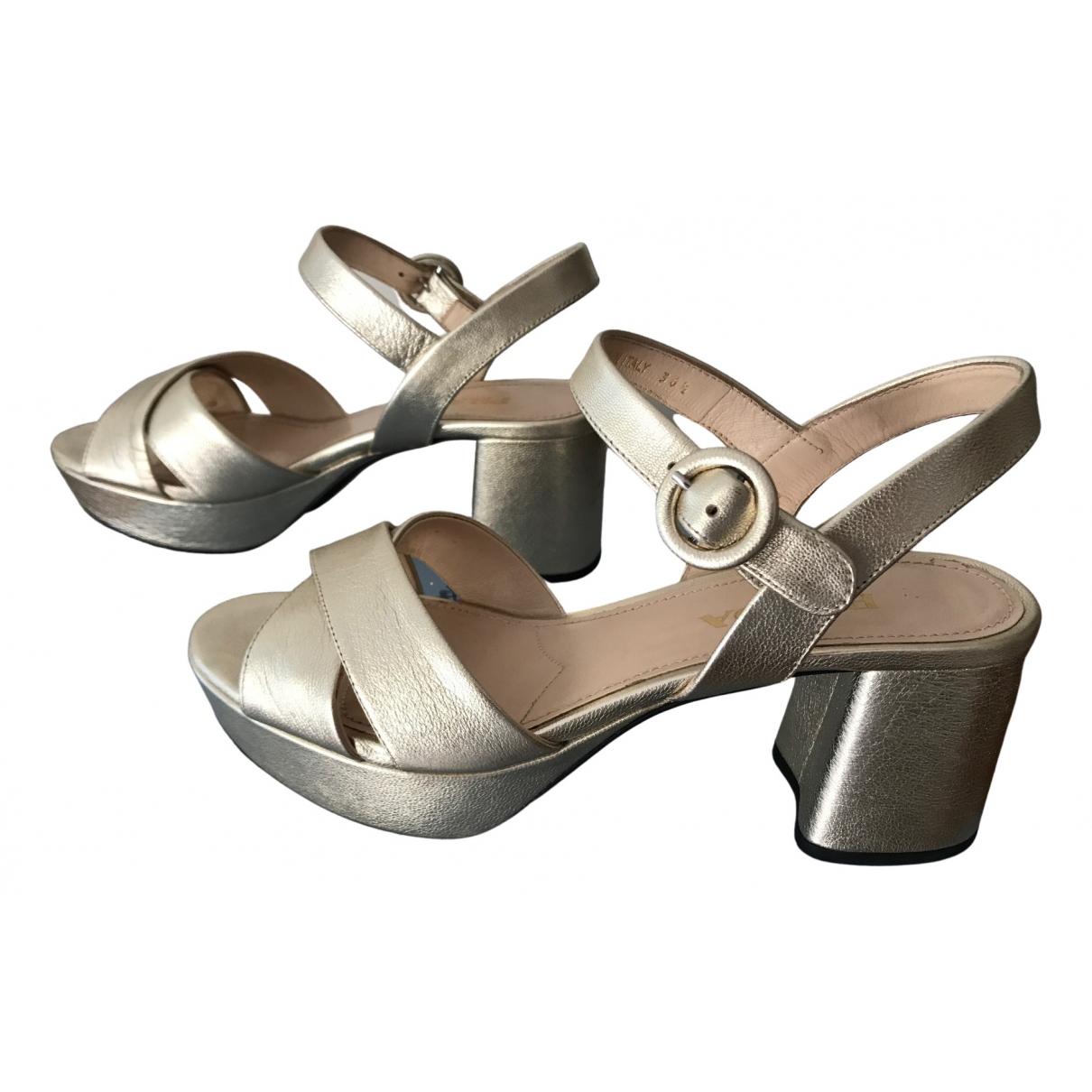Prada \N Gold Leather Sandals for Women 36.5 EU