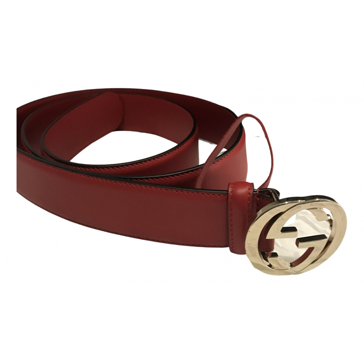 Gucci Interlocking Buckle Red Leather belt for Women L International