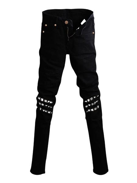 Milanoo Jean For Men Rivets Gothic Retro Black Gothic Costume