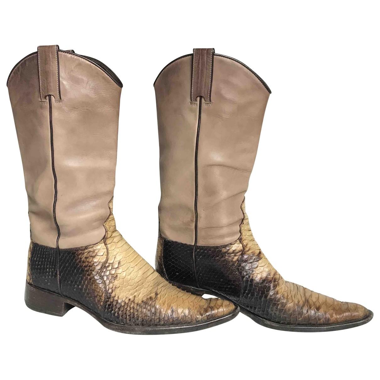 Sartore - Boots   pour femme en cuir - beige