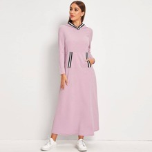 Striped Detail Hooded A Line Dress