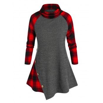 Plus Size Plaid Panel Asymmetric Buttons Sweater