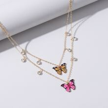 Colorful Butterfly Layered Necklace