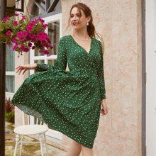 Vestidos Tablas Lunares Verde Elegante