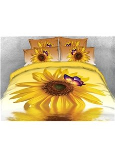 Sunflower Butterfly and Water Printed 4-Piece Bedding Sets/Duvet Covers