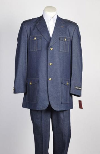 Mens 3 Button Single Breasted Suit Blue