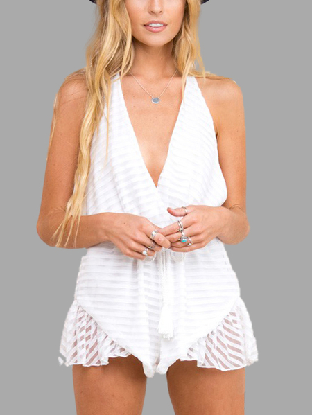 Yoins White V-neck Sleeveless Backless Playsuit
