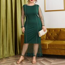 Plus Pearls Beaded Mesh Panel Fitted Dress