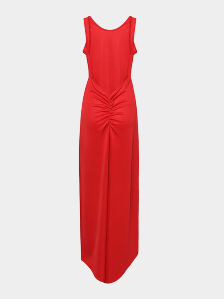 Yoins Backless Maxi Dress in Red