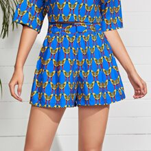 Allover Bird Print Wide Leg Shorts