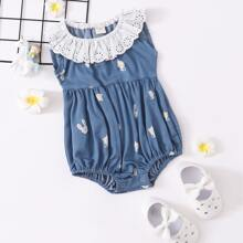 Baby Girl Contrast Schiffy Ruffle Cartoon Graphic Denim Bodysuit