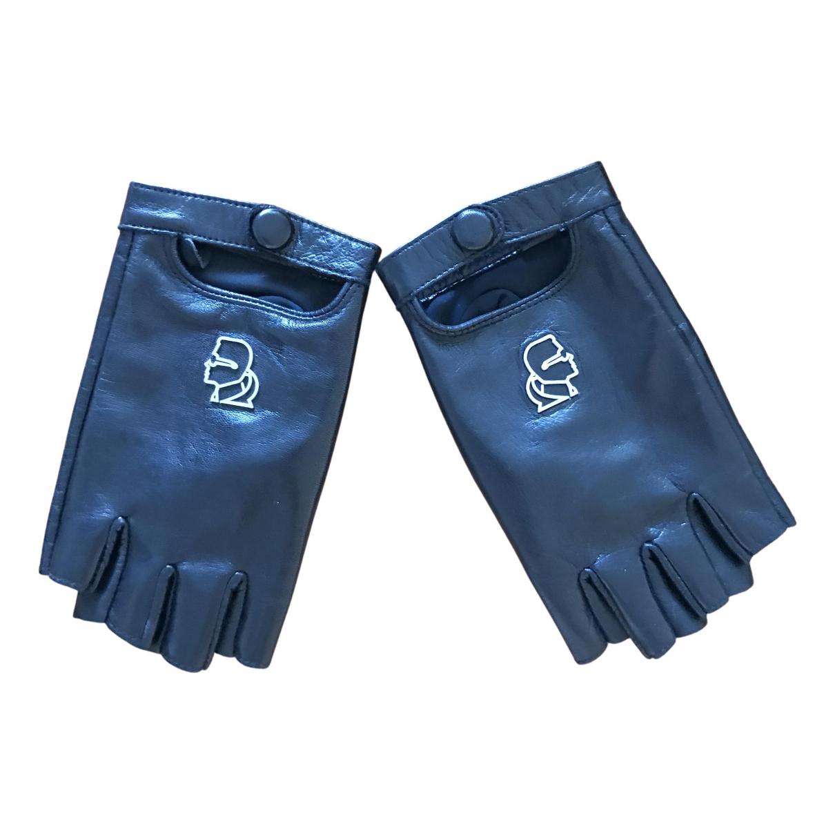 Karl Lagerfeld \N Handschuhe in  Schwarz Leder