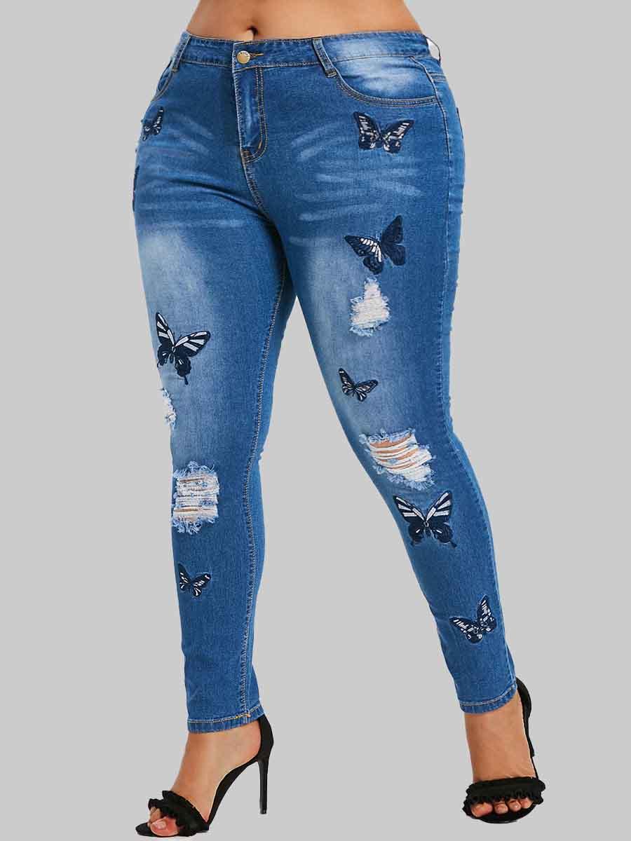 LW Lovely Stylish Butterfly Broken Holes Blue Plus Size Jeans