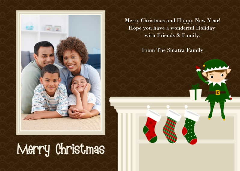 Christmas Photo Cards Flat Matte Photo Paper Cards with Envelopes, 5x7, Card & Stationery -Mantle Elf