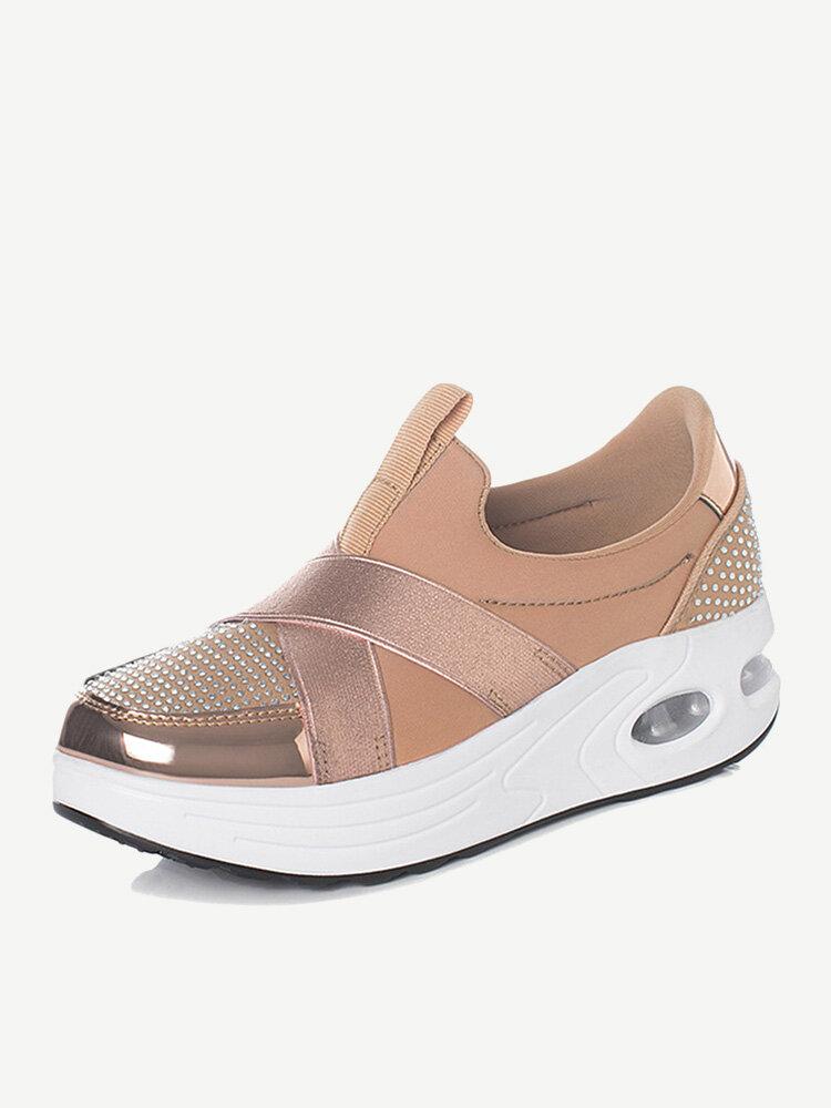 Cross Strap Rhinestone Rocker Sole Slip On Platform Shoes