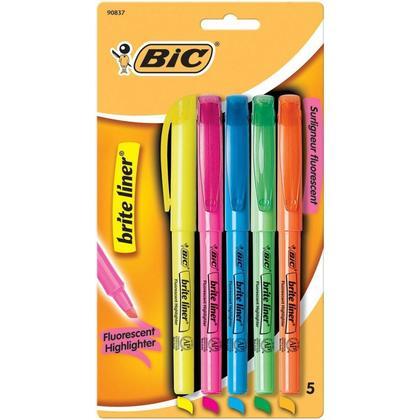 BIC® Brite Liner® Encre fluorescente super brillante Surligneurs, pointe biseautée, 5/Paquet