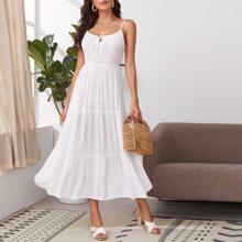 Cami Kleid mit Band vorn und Raffungsaum