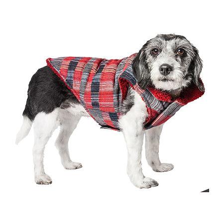 Pet Life  'Scotty' Tartan Classical Plaided Insulated Dog Coat Jacket, Medium , Red