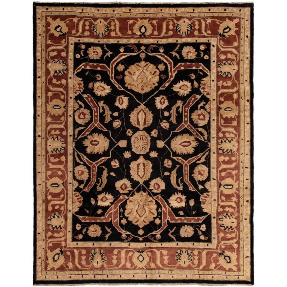 ECARPETGALLERY Hand-knotted Chobi Finest Black Wool Rug - 8'10 x 11'4 (Black - 8'10 x 11'4)