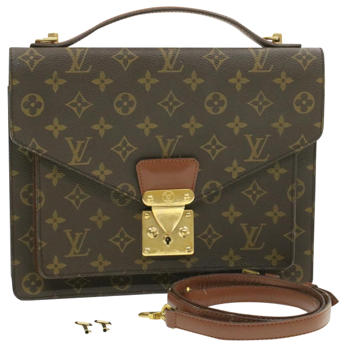 Louis Vuitton Monceau Clutch in  Braun Leinen